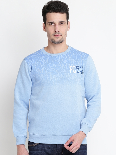 Fort Collins Men Blue Printed Sweatshirt