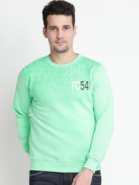 Fort Collins Men Green Printed Sweatshirt