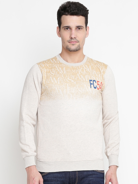 Fort Collins Men Beige Printed Sweatshirt