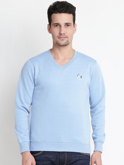 Fort Collins Men Blue Solid Sweatshirt