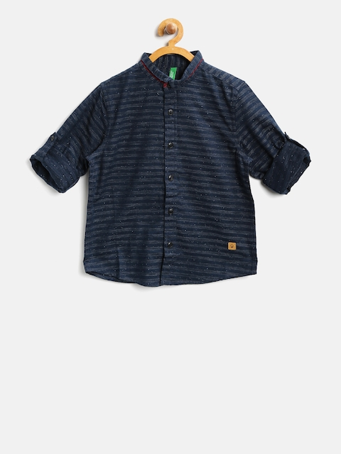 United Colors of Benetton Boys Navy Regular Fit Striped Casual Shirt