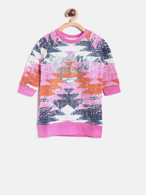 United Colors of Benetton Girls Pink & Blue Printed Sweatshirt
