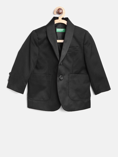 United Colors of Benetton Boys Black Single-Breasted Blazer