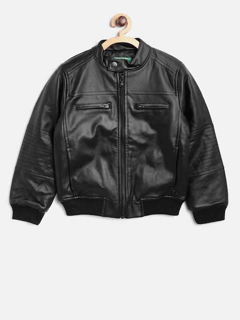 United Colors of Benetton Boys Black Faux Leather Solid Bomber Jacket