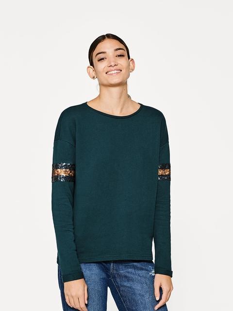 ESPRIT Women Green Solid Sweatshirt