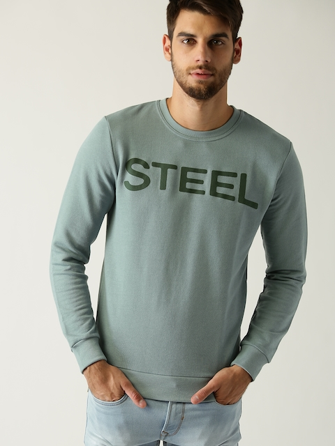 ESPRIT Men Green Printed Sweatshirt