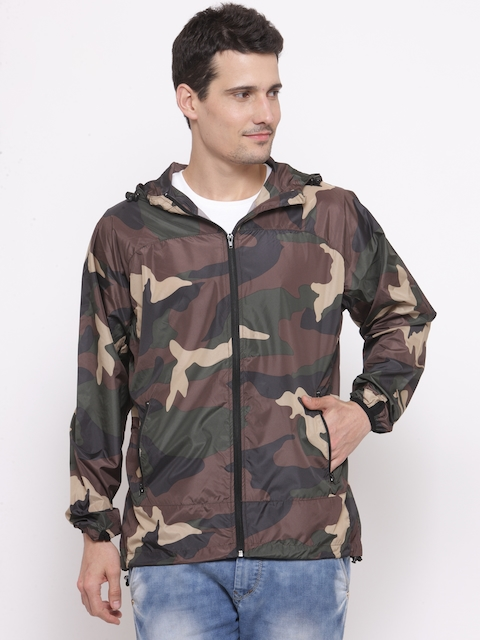 FOREVER 21 Men Olive Green & Brown Camouflage Print Hooded Tailored Jacket