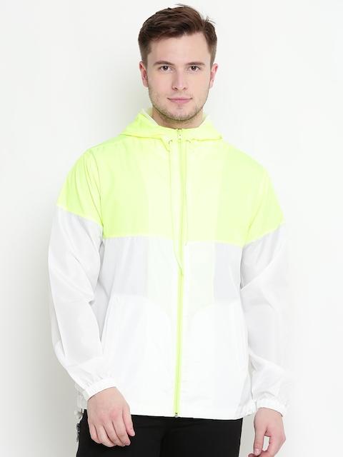 FOREVER 21 Men Fluorescent Green & White Colourblocked Tailored Jacket