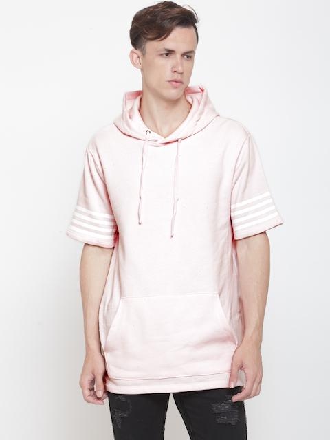 FOREVER 21 Men Pink Solid Hooded Longline Sweatshirt