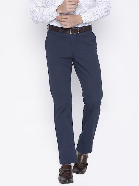 Allen Solly Men Navy Custom Regular Fit Solid Chinos