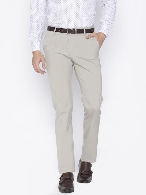 Allen Solly Men Beige Comfort Tapered Fit Self-Design Formal Trousers