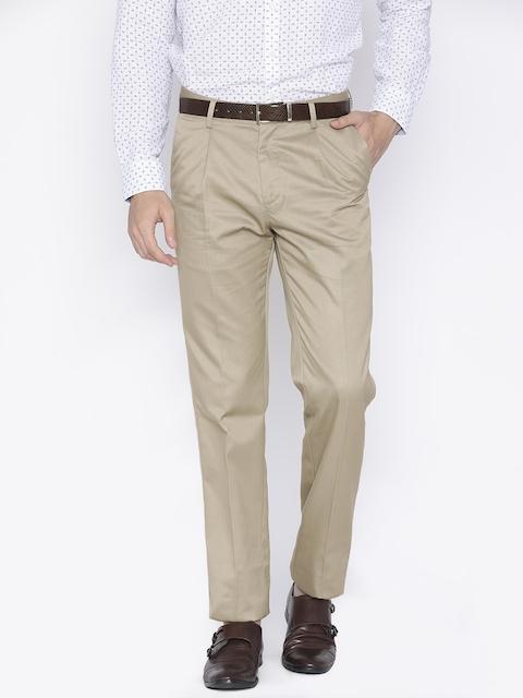 Allen Solly Men Beige Comfort Straight Fit Solid Formal Trousers