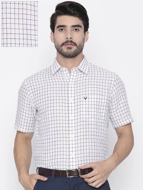 Allen Solly Men White & Blue Sport Regular Fit Checked Casual Shirt