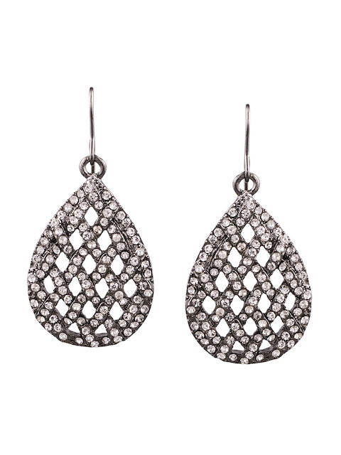 Being Human Silver-Toned Contemporary Drop Earrings