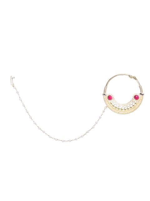 Voyla Gold-Toned & Pink Nose Ring