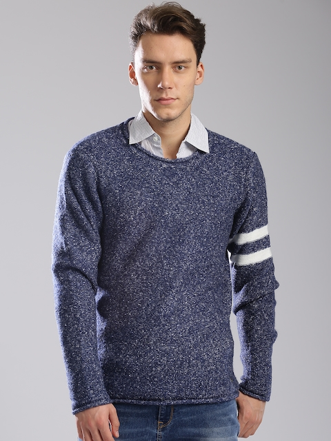GAS Men Blue Self-Design Pullover