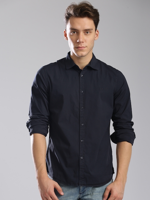 GAS Men Navy Blue Classic Slim Fit Solid Casual Shirt  available at myntra for Rs.2394