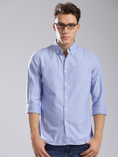 GAS Men Blue Classic Slim Fit Solid Casual Shirt  available at myntra for Rs.2744