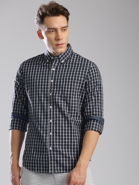 GAS Men Navy Blue Classic Slim Fit Checked Casual Shirt  available at myntra for Rs.2744