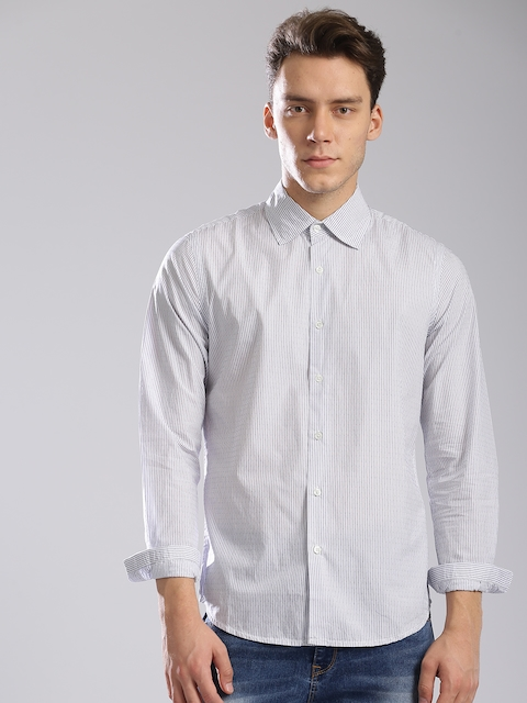 GAS Men White & Blue Slim Fit Striped Casual Shirt  available at myntra for Rs.2744
