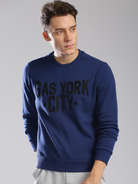 GAS Men Blue Self Design Sweatshirt