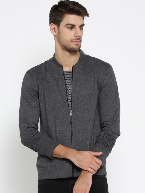 Hubberholme Men Charcoal Grey Solid Sweatshirt