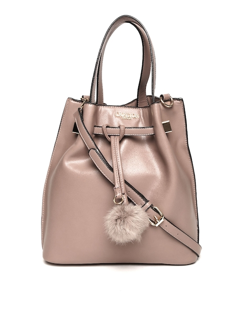 Carlton London Taupe Solid Handheld Bag with Detachable Sling Strap