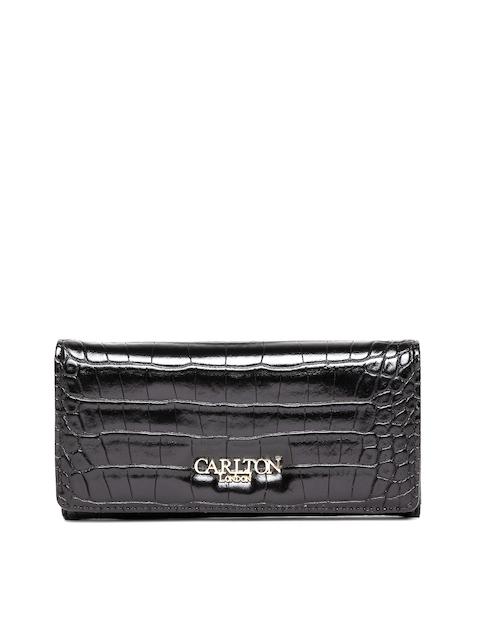 Carlton London Women Black Croc-Textured Two Fold Wallet