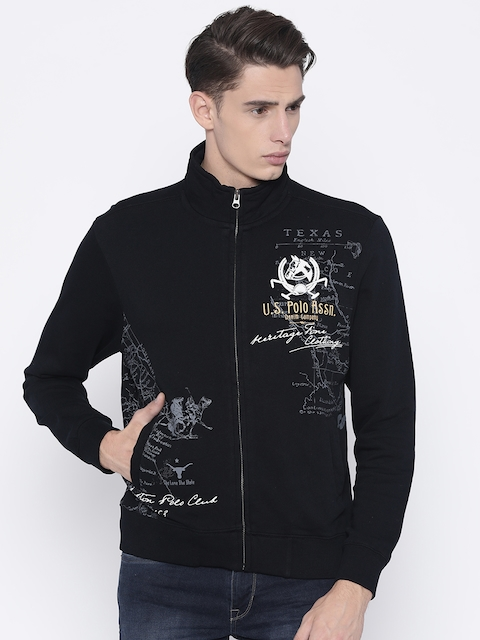 U.S. Polo Assn. Men Black Printed Sweatshirt