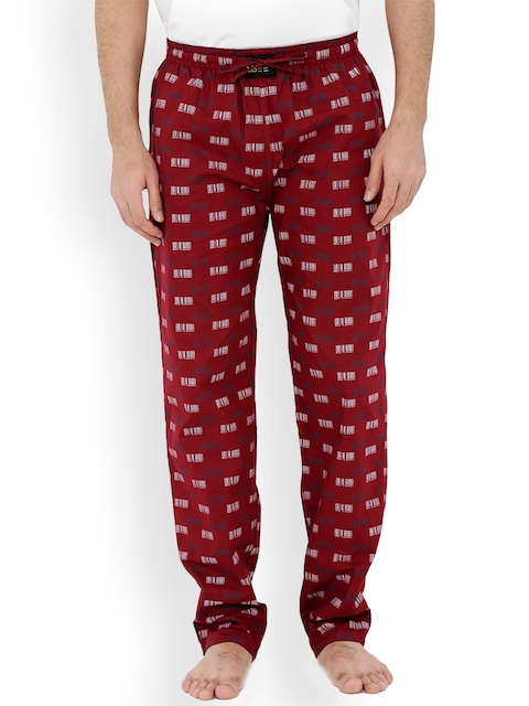 London Bee Men Maroon & White Printed Pyjamas MPLB0111