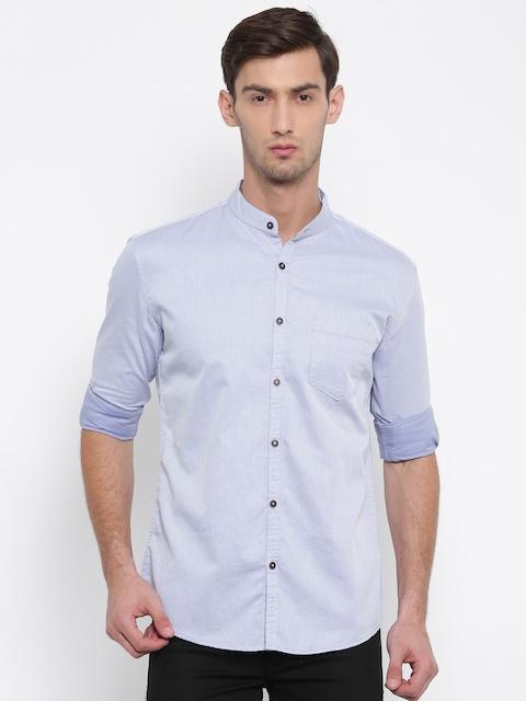British Club Men Blue Slim Fit Solid Casual Shirt