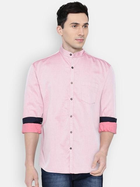 British Club Men Red Slim Fit Solid Casual Shirt