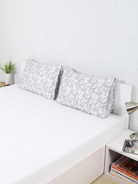 House This Set of 2 Grey Printed 18x 27 Rectangular Pillow Covers