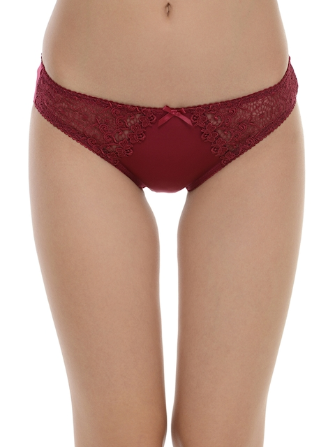 Da Intimo Women Maroon Briefs with Lace Detail DIU-223