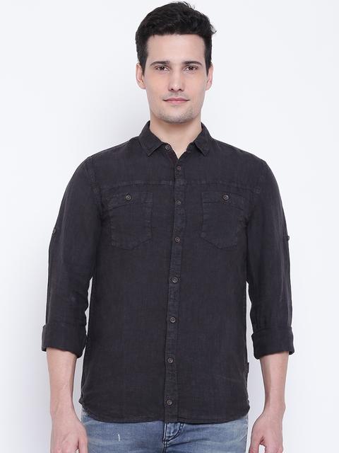 Jack & Jones Men Black Linen Regular Fit Solid Casual Shirt