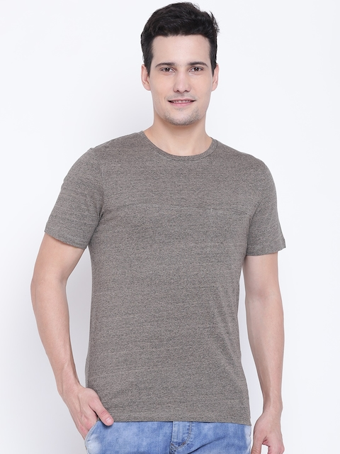 Jack & Jones Men Beige Solid Round Neck T-shirt