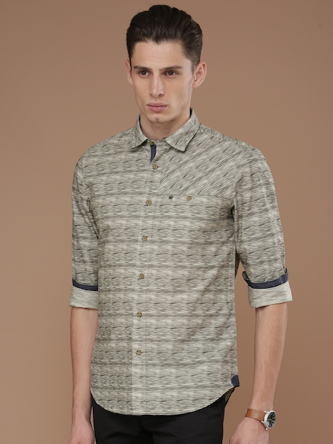 Louis Philippe Jeans Men Beige Slim Fit Striped Casual Shirt