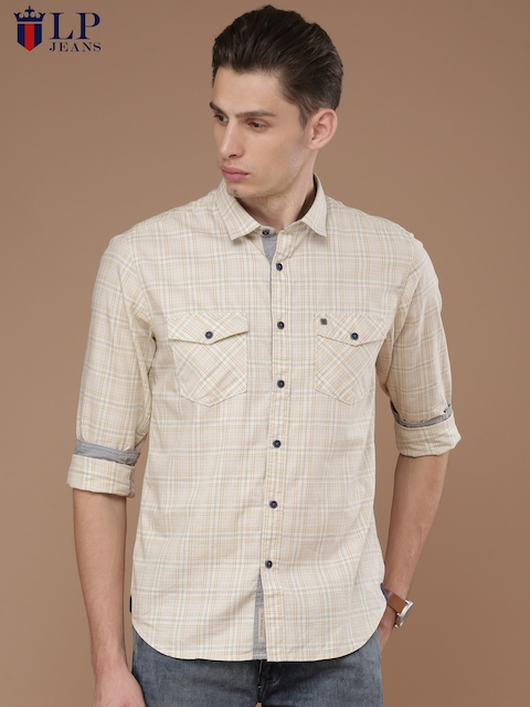 Louis Philippe Jeans Men Beige Slim Fit Checked Casual Shirt
