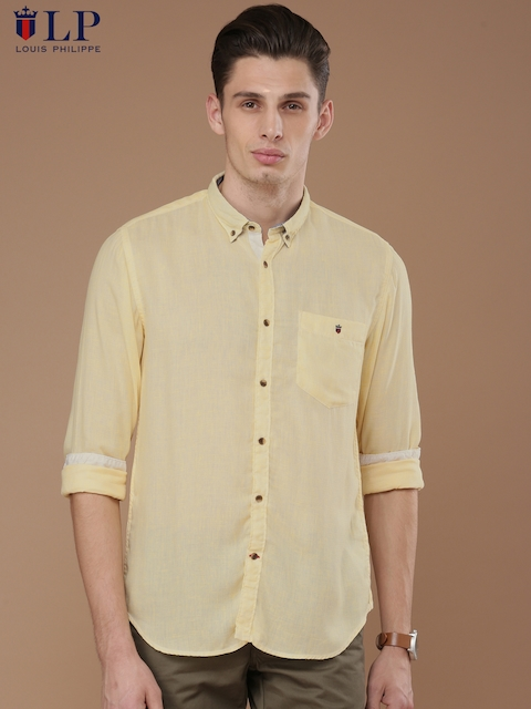 Louis Philippe Sport Men Yellow Union SQ Slim Fit Self-Design Casual Shirt