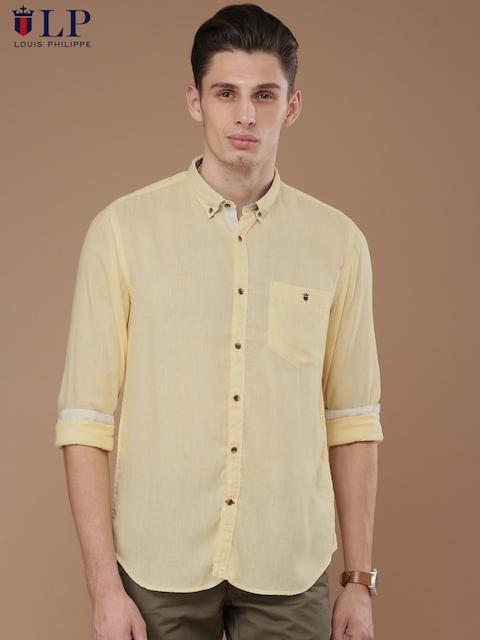 Louis Philippe Sport Men Yellow Union SQ Slim Fit Self-Design Casual Shirt