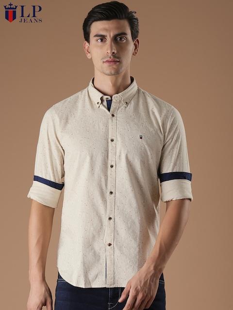 Louis Philippe Sport Men Beige Slim Fit Printed Casual Shirt
