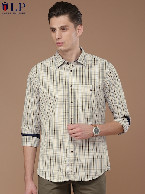 Louis Philippe Sport Men Beige & Grey Jermyn Tailored Fit Checked Casual Shirt