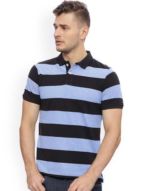Basics Men Blue & Black Striped Polo Collar T-shirt