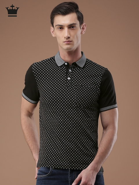 Louis Philippe Men Black Printed Polo Collar T-shirt
