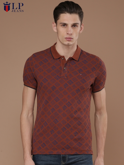 Louis Philippe Jeans Men Rust Red Printed Polo Collar T-shirt  available at myntra for Rs.899