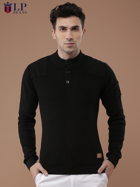 Louis Philippe Jeans Men Black Solid Pullover