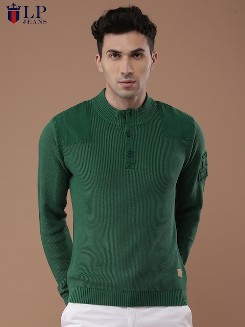 Louis Philippe Jeans Men Green Solid Pullover