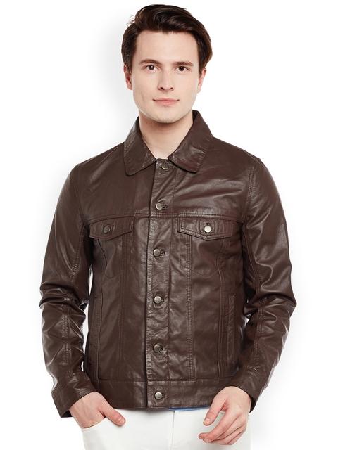 BARESKIN Men Brown Solid Lightweight Duster Jacket