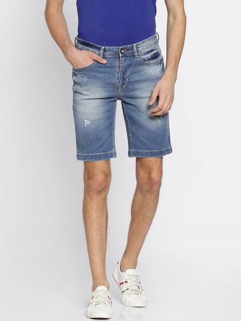 Lee Cooper Men Blue Washed Regular Fit Denim Shorts