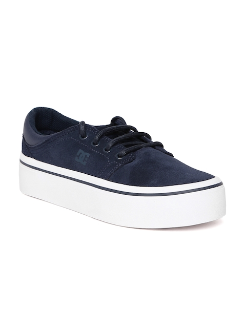 DC Women Navy Blue Leather Sneakers